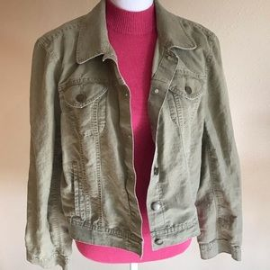 LOFT Khaki Green Linen Blazer